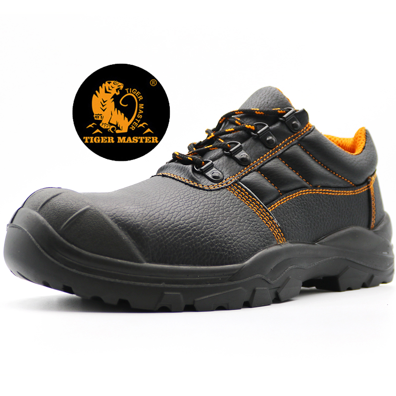 Anti Slip Black Leather Steel Toe Cap Puncture Proof Work Shoes Low Ankle