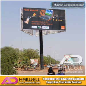 High-Way Trihedron Unipole Advertising Billboard Construction en venta