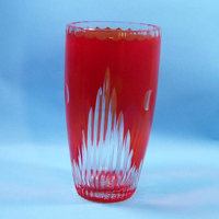 hot selling hand engraved red artificial glass vases