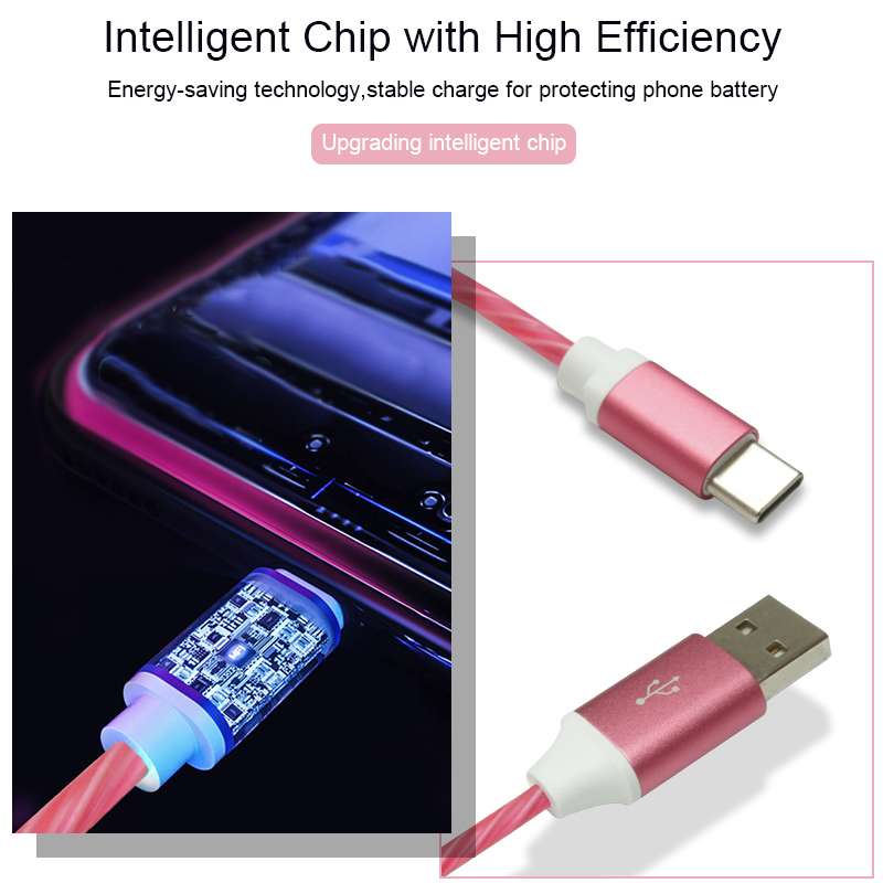 Flowing LED USB Cable for Type C with Fast Charging