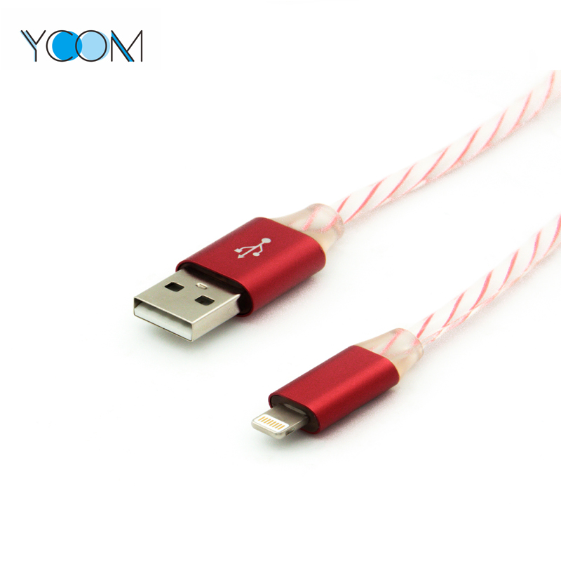 Cable USB de datos de luz LED de 5V 2A para iPhone