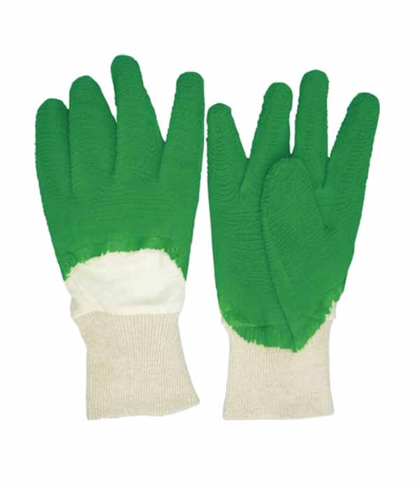3204 green latex working safety gloves with interlock liner