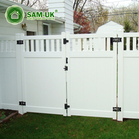 6' x 8' modern vinyl privacy fence with double gate