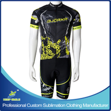 Custom Sublimation Printing Neon Yellow Color Cycling Wear