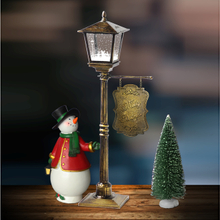 Copper Finshed Christmas Falling Snow Led Light with Sowman And Christmas Tree