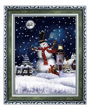 (WP046S1-GSG) Hot Selling Christmas Item with Happy Snowman inside for Door Decoration