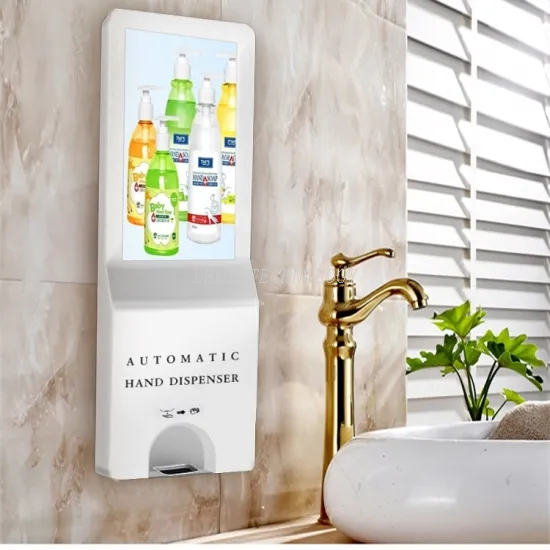 Ethanol Disposable Hand Sanitizer in Wall Mounted Digital Signage Touch Screen Monitor Display