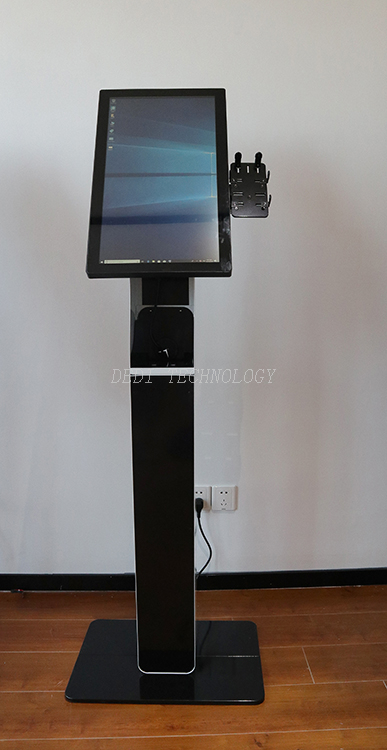 Countertop touchscreen queue bank restaurant menu hotel self service ordering kiosk service with card reader holder