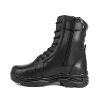 Men combat black military full leather boots 6284