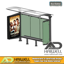 Outdoor Street Bus Stop Shelter with Mupi Advertising Display Light Box