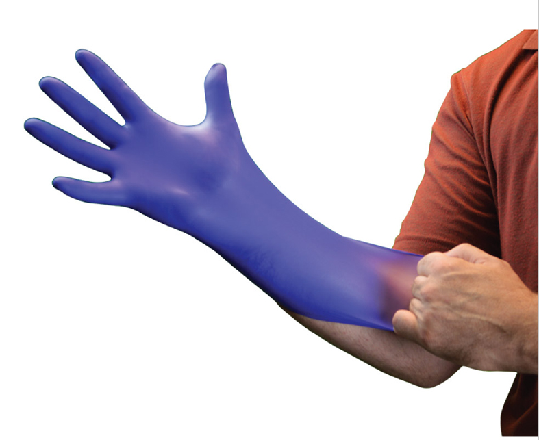 Indigo blue powder free disposable nitrile gloves