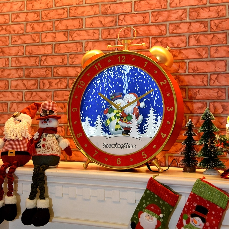 Snowing wooden alarm clock shaped christmas ornament