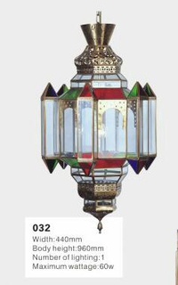Arabic style brass with glass pendant chandelier (KA032)
