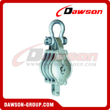 DS-B015 Malleable Iron Shell Block For Manila Rope Triple Sheave With Shackle