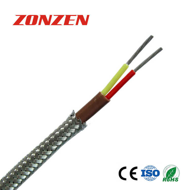 FEP insulated thermocouple wire with stainless steel overbraid--Single pair, flat