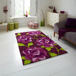 160×230 cm Contemporary Purple Area Rug Handmade Acrylic Carpet