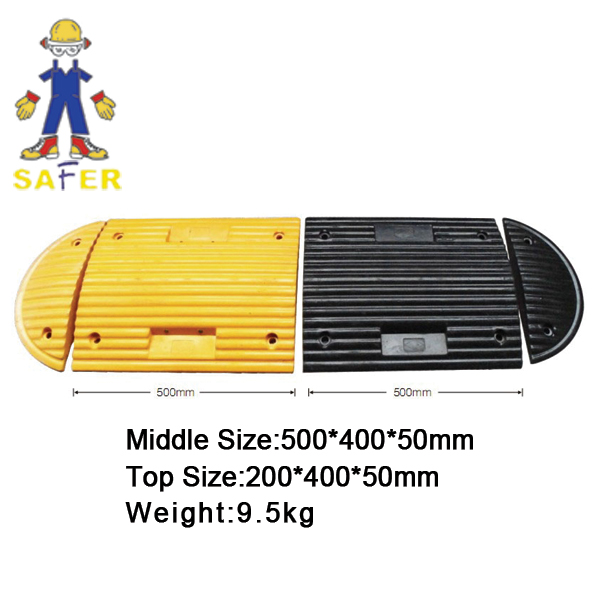 yellow with black stripes plastic road hump