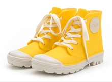 Lemon yellow lace up fashion rain boots shoes for women