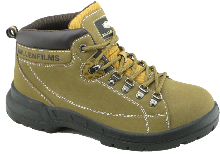 PU injection PU nubuck leather work safety shoes