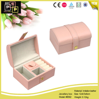 White Pink PU leather Round Top tiny take out jewelry case