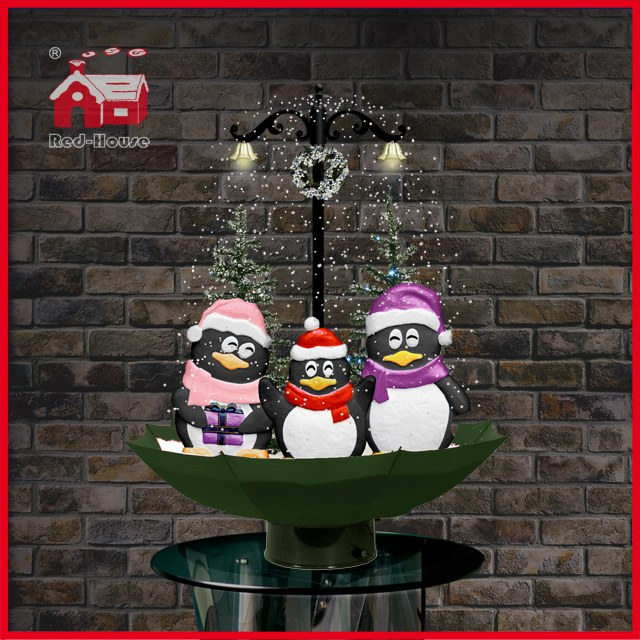 (118030U075-3P-GW) Snowing Christmas Decorations with Umbrella Base