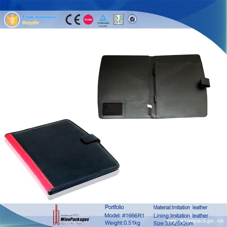 A4 Folder Zipped Women Red Leather Portfolio with Document Folder
