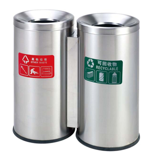 Swing tops Outdoor waste can with stainless steel HW-92