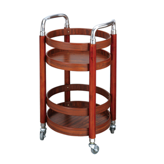 Wooden Round Wine Service Trolley (FW-72)