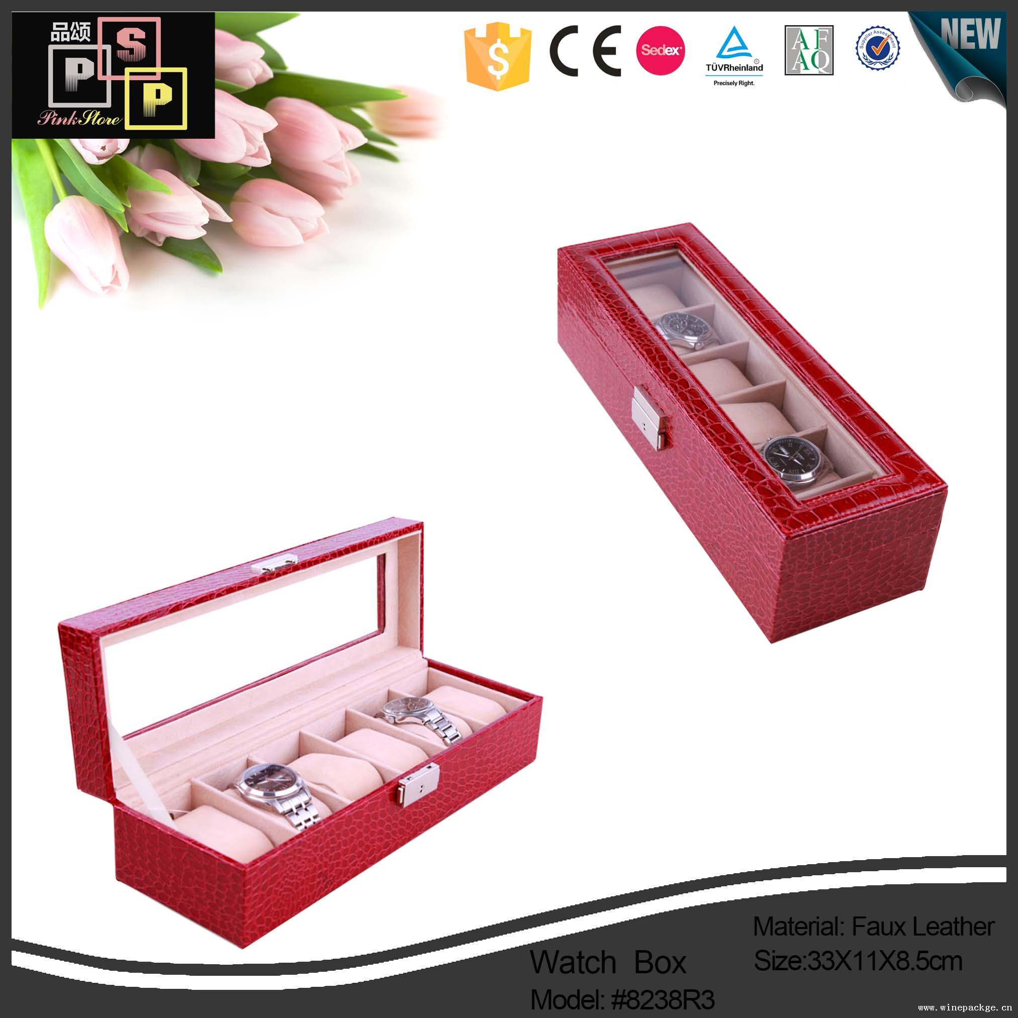 PU Leather Material and Stamping,Embossing, Printing leather watch box