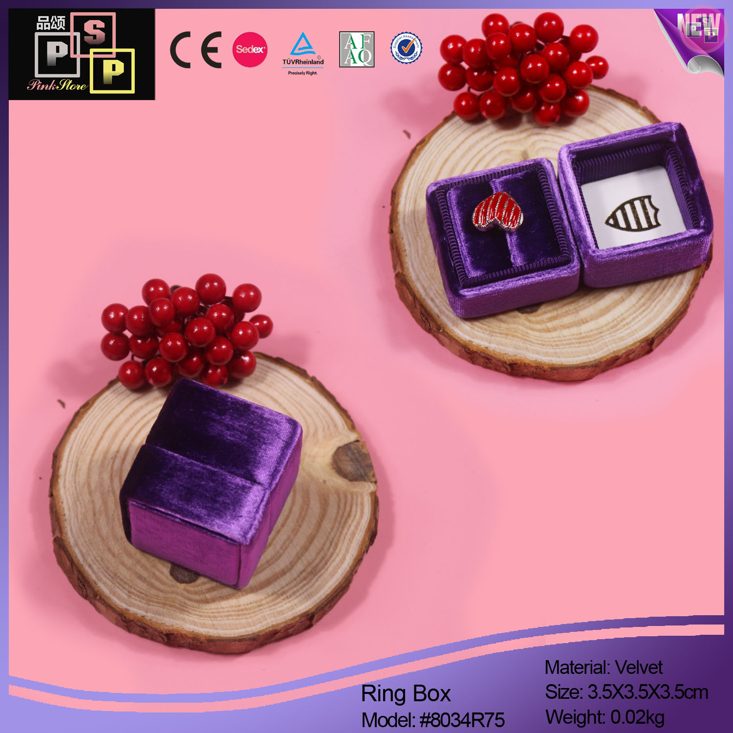 Pink Store Package Purple Color Velvet Hand Made Square Ring Box