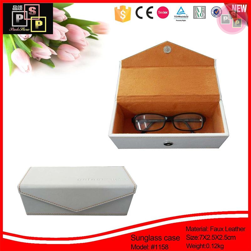 China Supplier 2016 New Design custom hot sale promotional white sunglasses cases faux leather