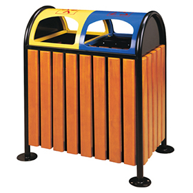 Outdoor waste can with plastic wood for supermarket HW-46