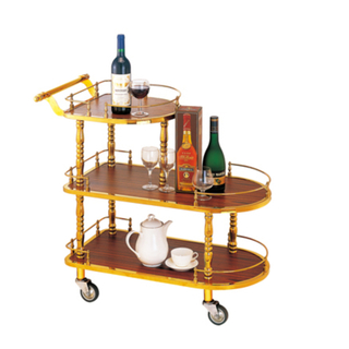 Luxury Stailess Steel and Wood Service Trolley for Restaurant (FW-42)