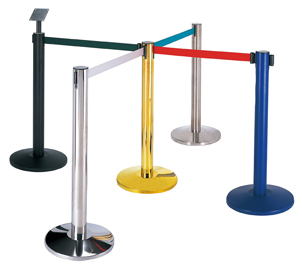 Metal Black Paint Crowd Control Retractable Railing Stand for Shopping Mall