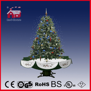 (40110U120-GS) Beautiful Green Christmas Tree with Colorful Ornaments Umbrella Skirt