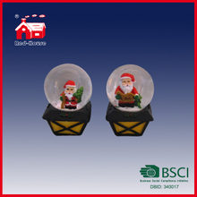 LED Light Up Snow Globe Mini Snow Ball Santa Claus Inside Water Globe Christmas Lamp Base