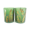 21oz green sandblasted candle jars with gold leaf pattern modern stylish candle holders for wedding