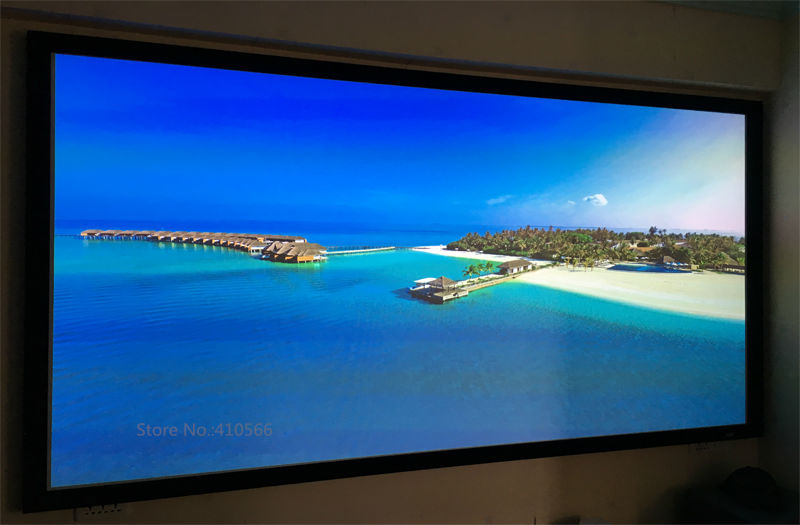 Transparent Stage Large Flat Frame Projection Screens With Bracket , Wall Mounted