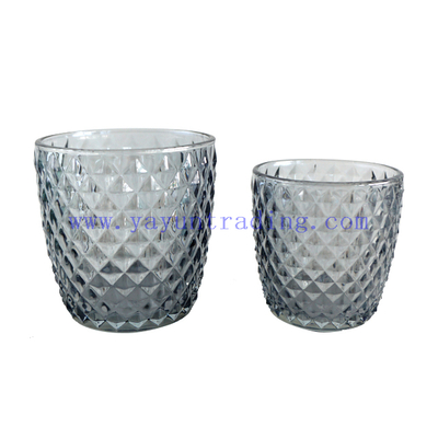 Popular 170ml Translucent Empty Horn Grey Glass Candle Cup