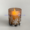 Snow pattern decoration 20cl 60cl hand blown unique candle container glass cup for candle making