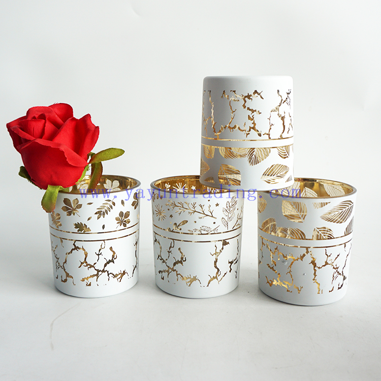 200ml Matte White Holiday Candle Jars With Laser Engraved Silver Gold Red Mercury Lantern Candle Holders