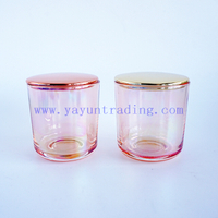 Ion plating luxury pink glass candle holder 8oz small empty candle containers with gold rose gold lids