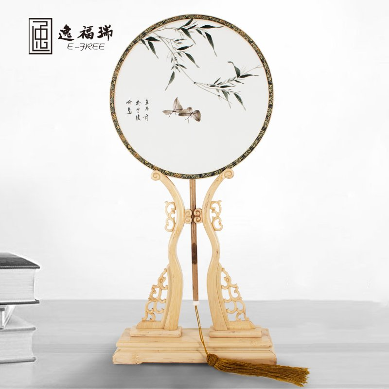 Chinese embroidery palace round silk fans for business gifts