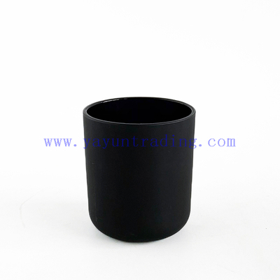 Matte Black Frosted Glass Candle Holder Jar With Bamboo Lids