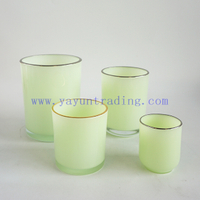 Wholesale Yayun New Design Cylinder Grass Green Candle Jars Gold Silver Rim Candle Vessels for Christmas