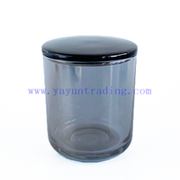 Custom Empty Glossy Gray Glass Candle Holder for Decor With Ceramic Lid