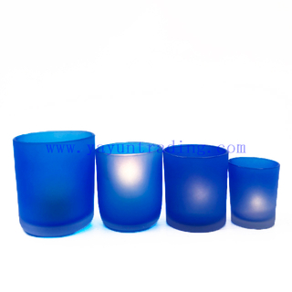 Popular Blue Matte Round Empty Glass Candle Jars For Candle Making