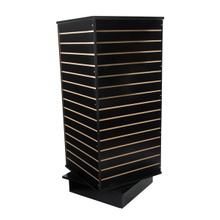 Four Side Wood Slat Wall System Rolling Slatwall Display Tower