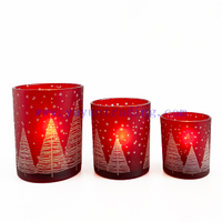 Christmas Tree Glass Candle Holder Red Candle Jar For New Year