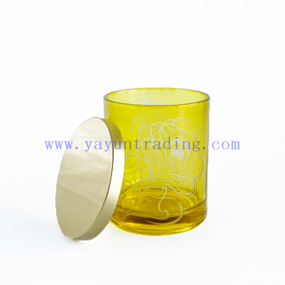 Fancy Yellow Empty Jar High Quality Glass Candle Vessels With Tin Lid
